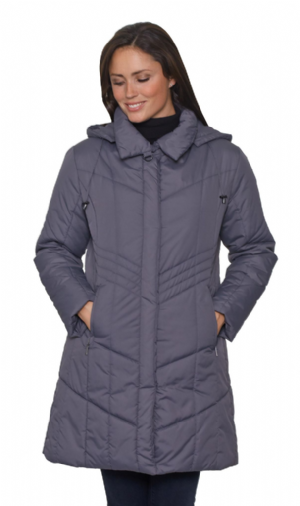 Womens Charcoal Hooded Padded Anorak Coat db7023